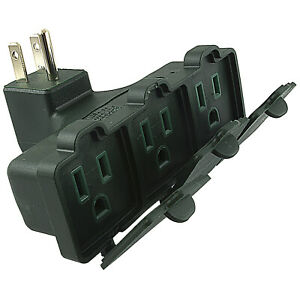 RIGHT ANGLE 3 OUTLET WALL TAP UL GROUNDED Power Socket Splitter Plug Adapter