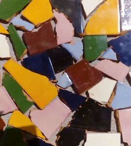 Pounds of Broken Talavera Mexican Ceramic Tile in Mixed Solid Colors #001