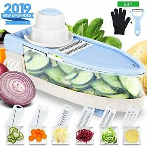 Mandoline Slicer with Cut-Resistant Gloves Single Handed Pro-Vegetable Slicer