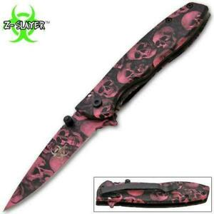7quot; Assisted Open Folding Pocket Knife Pink with Skulls on Blade amp; Handle EDC