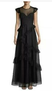 NWT $448 Bcbg Max Azria Black Polka Dot Ruffled Lace Gown Dress Sz 4 Small S
