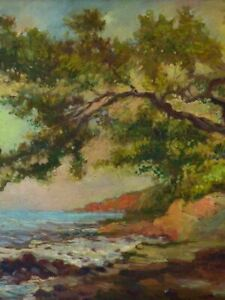 Antique French seascape painting - 20 ¾