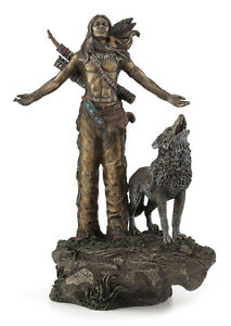 Native American Indian Warrior Praying with Wolf Statue Sculpture Figurine Gift
