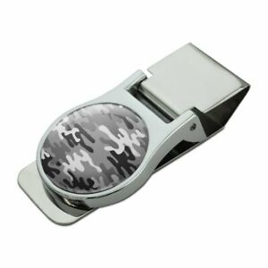 Snow Camouflage Satin Chrome Plated Metal Money Clip