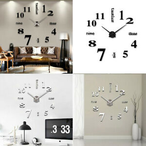 Modern DIY Large Wall Clock 3D Mirror Surface Sticker Big Number Watch Decor New