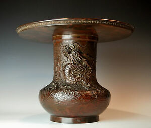 MUSEUM QUALITY ANTIQUE JAPANESE BRONZE VASE Rare Signed Edo Meiji Cast Usubata