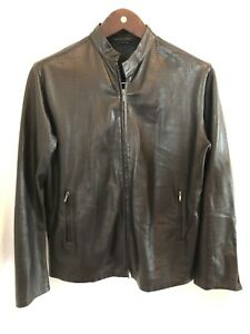 Ralph Lauren Purple Label Perforated Leather Jacket Men's Medium Black