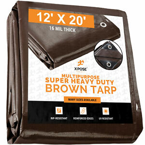 12' x 20' Super Heavy Duty 16 Mil Brown Poly Tarp Cover - Thick Waterproof