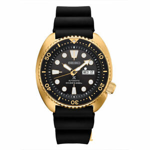 NEW Seiko SRPC44 Turtle Men's 45mm Gold Tone Case Rubber Strap Black Dial Watch