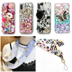 Bling Diamonds Crystal Back Soft phone Case &neck silk strap for samsung A30 A50