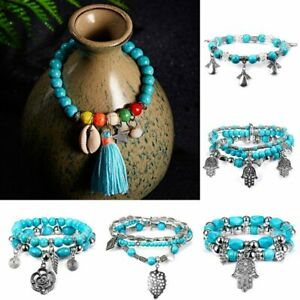 Charm Women Boho Turquoise Beads Tassel Bracelet Tibetan Silver Tribal Bangle
