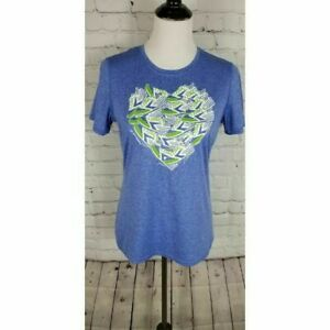 Brooks women's blue heart running graphic athletic shirt size medium