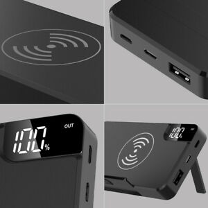300000mAh Power Bank Qi Wireless Charging USB LCD Portable Battery Charger Pack
