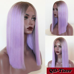 Fashion Beauty Synthetic Lace Front Hair Wigs Ombre Purple Natural Short Bob Wig