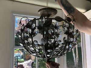 Hd Buttercup Bethel Semi Flush Floral amp; Crystal Pendant Lighting $200.00