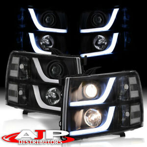 Black LED DRL Tube Projector Headlights Lamps For 2007-2013 Chevy Silverado 1500
