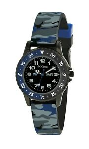 Tikkers Children's Time Teacher Camouflage Silicone Strap Watch - NTK0020
