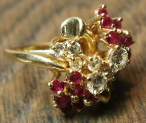 14KT Yellow Gold Designer Natural Rubies Diamond Brilliant Cut Ring O1