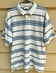 Eddie Bauer Polo Sport Shirt Men Size Large Short Sleeve Striped Gray and Blue $8.24