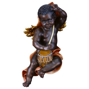 Black Angel Palyer PUTTOE for Wall with Drum Wood Carved Italian Work of Art