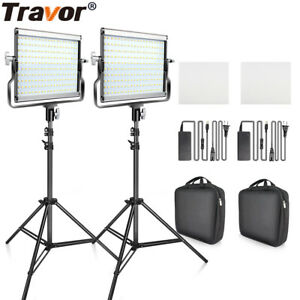 Travor Photo 2-Pack Dimmable Bi-color LED Video Light and Stand Lighting Kit USA