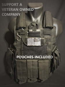 Tactical Vest Plate carrier Body Armor adjustable Black Rig All Pouches Included