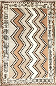 Zig/Zag Gabbe Modern Area Rug Earth-tone Oriental Hand-made Wool 4'x6'