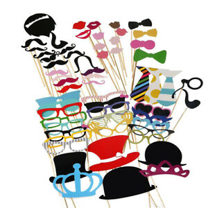 Photo Booth Props DIY Kit for Wedding Party Photobooth Dress-up Accessories 60pc