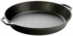 LODGE 17 in. Skillet Cast Iron for Induction Cooktops with Two Loop Handles