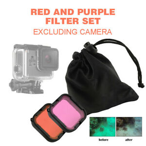 2Pcs Red&Purple Lens Filter Case Underwater Scuba Diving For GoPro Hero 5 Camera