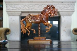 Gorgeous Horse Sculpture  Hand Carved  Solid Mahogany Wood  Spanish Colonial