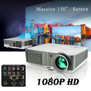 4200LM Home Theater LED LCD Projector Backyard Movie HD Video HDMI*2 USB VGA TV