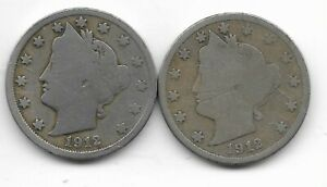 Rare 100 Years Old 1912D+P US Liberty Nickel Collection Coin Antique Lot USA:Y53