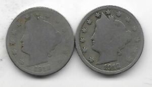 Rare 100 Years Old 1912D+P US Liberty Nickel Collection Coin Antique Lot USA:Y56