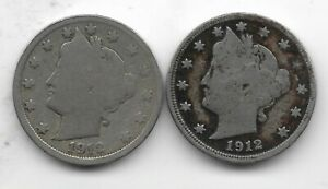 Rare 100 Years Old 1912D+P US Liberty Nickel Collection Coin Antique Lot USA:Y57