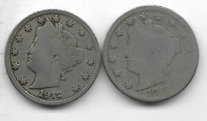 Rare 100 Years Old 1912D+P US Liberty Nickel Collection Coin Antique Lot USA:Y59