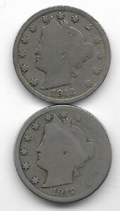 Rare 100 Years Old 1912D+P US Liberty Nickel Collection Coin Antique Lot USA:Y62