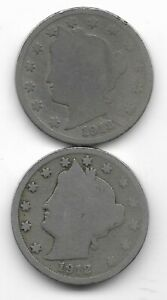 Rare 100 Years Old 1912D+P US Liberty Nickel Collection Coin Antique Lot USA:Y63