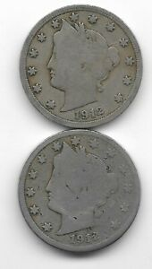 Rare 100 Years Old 1912D+P US Liberty Nickel Collection Coin Antique Lot USA:Y64
