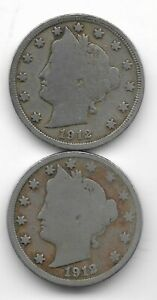 Rare 100 Years Old 1912D+P US Liberty Nickel Collection Coin Antique Lot USA:Y65