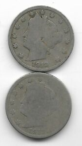 Rare 100 Years Old 1912D+P US Liberty Nickel Collection Coin Antique Lot USA:Y66