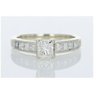 .93ctw Princess Cut Diamond Engagement Ring 14k White Gold Size 7