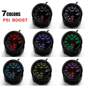 252mm Car Turbo Boost Gauge 0 30Psi High Speed Stepper Motor w Sensor 7 Color