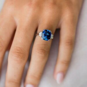 3.2ct Cushion Cut Blue Sapphire Engagement Ring Trilogy 14k White Gold Finish