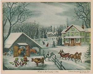 VINTAGE CALENDAR PRINT 1930S WINTER IN THE COUNTRY FOLK ART XMAS NEW ENGLAND