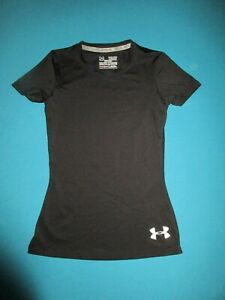 UNDER ARMOUR Girls Black Short Sleeve Shirt Size Extra Small XS