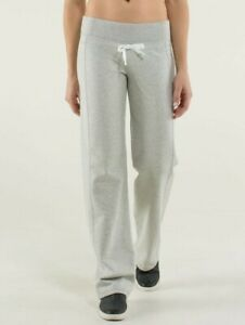 LULULEMON Calm & Cozy Pant WOMENS SZ 2 Heathered Light Grey CINCH French Terry