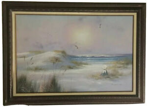 """!!HUGE!!  Antique VINTAGE OIL PAINTING SIGNED C.MELTON- BEACH  43.5 By 31.5"""""""