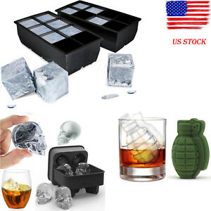 BY 8 Big CubeSkull Giant Jumbo Silicone Ice Cube Square Tray Mold Mould