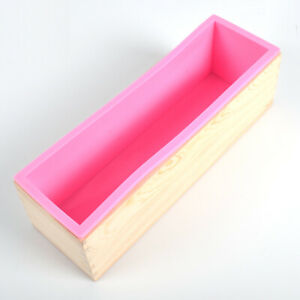 USA Rectangle Silicone Soap Mold Pan Wooden Box Diy Make Tools High Quality